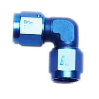 Edelbrock//Russell 661260 Blue Anodized Aluminum 8AN 90-Degree Flare BulkHead Adapter Fitting